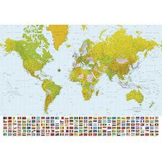 Poster XXL de mur Map world, 366x254 cm