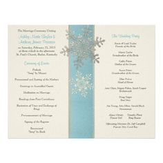 Silver Blue Ivory Snowflake Winter Wedding Program Full Color Flyer