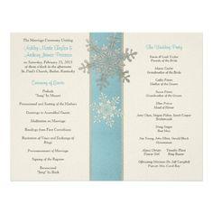 Silver Blue Ivory Snowflake Winter Wedding Program Full Color Flyer