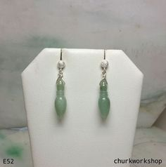 Green jade dangling earrings