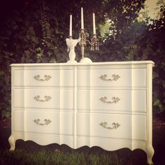 French provincial dresser refinished in oyster shell white/drawer pulls washed in gray. Cottage chic furniture.
