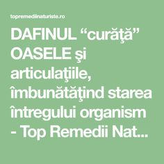 "DAFINUL ""curăţă"" OASELE şi articulaţiile, îmbunătăţind starea întregului organism - Top Remedii Naturiste Good To Know, The Cure, Health Fitness, Healthy, Health And Fitness, Fitness"