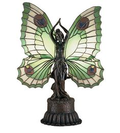 Meyda Tiffany 48019 Butterfly Lady Accent Lamp , Novelty Lamps And Accessories Stained Glass Table Lamps, Tiffany Stained Glass, Tiffany Glass, Stained Glass Art, Stained Glass Windows, Fused Glass, Tiffany Kunst, Tiffany Art, Louis Comfort Tiffany