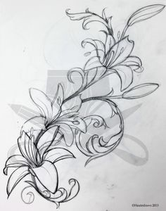 filigree lily... Rib tattoo or even on the back with some color