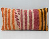 cream lumbar pillow orange ethnic pillow red floor pillow cover yellow pillow slip cover gold knit pillow case crisp kilim pillow sham 17369