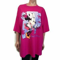 Vtg Walt Disney World Minnie Mouse Tshirt Womens Size XL Pink Puzzle Graphic Top #MickeyInc #Basic #Casual Walt Disney World, Minnie Mouse, Puzzle, Blouses, T Shirts For Women, Casual, Mens Tops, Pink, Fashion