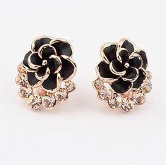 Black Flower Shaped Stud Earringswww.wearethebikerstore.com | Bikers, Motorcycle, Men, Women, Fashion, Goth, Home Decor, Skull, Leather.