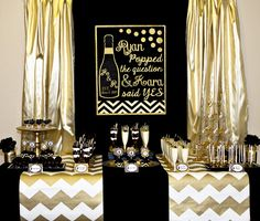 Gold and Black Bridal Shower - He Popped The Question and She Said Yes