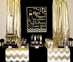 Gold and Black Bridal Shower - He Popped The Question and She Said Yes LOVEEEEEEEEEEEE