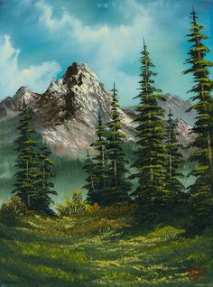 Landscape Painting - High Meadow by C Steele | Mountain, forest, painting, art, blue sky, nature, beautiful , serene, vista, trees, green, mountainside