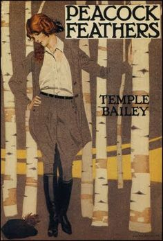 A woman in jodhpurs blends with the birches on this cover design by illustrator Coles Phillips for the book Peacock Feathers, 1924