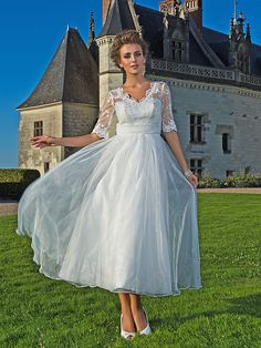 Wedding Dress A Line Ankle Length Organza and Lace V Neck With Illusion Sleeves and Sash - USD $99.99
