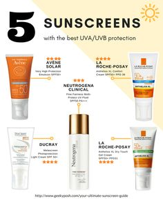 5 sunscreens with the best uv uvb protection // Geeky Posh Beauty Care, Beauty Skin, Beauty Hacks, Face Beauty, Beauty Stuff, Beauty Secrets, Diy Beauty, Beauty Tips, Good Sunscreen For Face