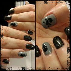 Nail skuls black grey