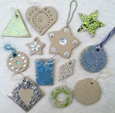 Winter or Christmas kid's craft. Pretty ornaments made from pressing or gluing  embellishments onto air-dry clay.