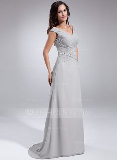 A-Line/Princess Off-the-Shoulder Sweep Train Chiffon Mother of the Bride Dress With Ruffle Beading Sequins (008005681) - JJsHouse