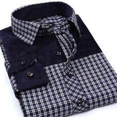 Mens Fashion Autumn Plaid Grid Printing Stitching Turn-down Collar Casual Spring Dress Shirt