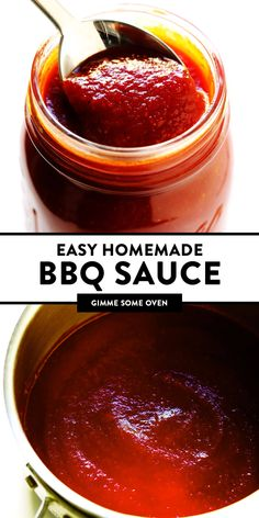 This Kansas City-style homemade BBQ sauce recipe is super quick and easy to make, and full of the best tangy, smoky and slightly-sweet flavors that everyone is sure to love! Add it to chicken, pork, r Easy Bbq Sauce, Homemade Bbq Sauce Recipe, Sauce Recipes, Barbecue Sauce, Chicken Recipes, High Protein Vegetarian Recipes, Healthy Recipes On A Budget, Easy Recipes, Bbq Chicken Wings