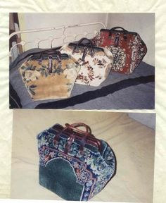 How to make carpet bags from carpets!  Look at the originals to get ideas about pattern of carpet.  Do NOT use synthetic rugs.