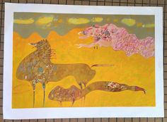 VTG SOMA GALERIE PIERRE ABSTRACT HORSE PRINT WALL HANGING MID CENTURY MODERN #Abstract