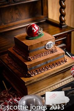 My husbands Alabama Football groomsmen cake