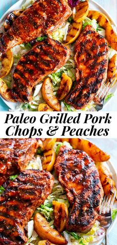 Healthy Grilling, Grilling Recipes, Clean Eating Dinner, Clean Eating Recipes, Pork Chop Recipes, Paleo Recipes, Kitchen Recipes, Peach Pork Chops, Paleo Burger