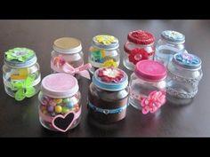 como reciclar y decorar un frasco de vidrio con vaquitas de porcelanafria y tela - YouTube