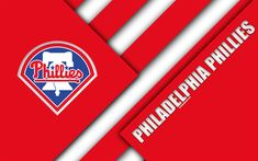 Download wallpapers Philadelphia Phillies, MLB, 4k, red abstraction, logo, material design, American baseball club, Philadelphia, Pennsylvania, USA, Major League Baseball
