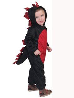 Disfraz de dinosaurio negro y rojo niño Halloween: Este disfraz de dragón para…