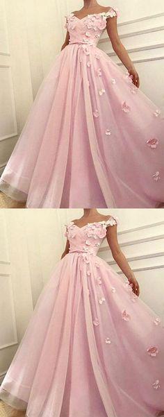 A-Line Off-The-Shoulder Pink Long Prom/Evening Dress #promdress #promdresses #pinkpromdresses #eveningdress #eveningdresses