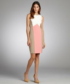 Single white, coral and taupe colorblock sleeveless 'Kate' dress