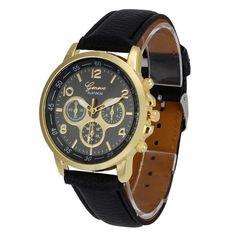 7c3b4ea16b10 Fashion watch Unisex Casual Geneva Leather Quartz Analog Wrist Watch Men  Watches Clock Gift relojes mujer
