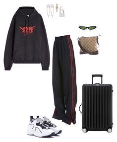"""Airport"" by kyrann ❤ liked on Polyvore featuring Vetements, MISBHV, Acne Studios, Balenciaga, AMBUSH, Rimowa, Gucci and Hermès"