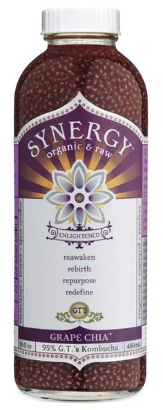 Grape Juice, Chia Seeds, and Kombucha! Yum! It's almost like drinking jelly! It makes my inner child LAUGH!