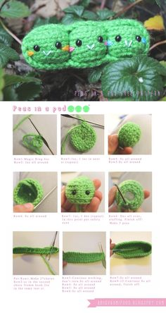 Peas in a pod with pattern amigurumi Food and More