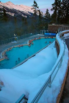 Banff Hot Springs pool, is very relaxing 104 degrees. At the bottom of Sulphur Mountain.