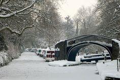 Frozen canal bridge