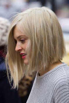 Asymmetrical long blonde bob