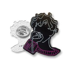 "Silver plated pin with hard enamel. Pin clutch back.  1 1/4"" x  1"""