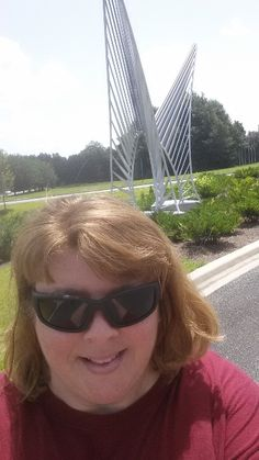 The author and her inspiration for the Fall short story, Icarus's Wings by Noah Z Brock at Innovation Park