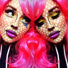book girl makeup: pink hair, purple lips and yellow eyes.Comic book girl makeup: pink hair, purple lips and yellow eyes. Pop Art Kostüm, Pop Art Girl, Purple Lips, Purple Hair, Yellow Eyes, Purple Makeup, Halloween Looks, Halloween Face Makeup, Pop Art Halloween Costume