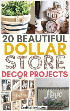 20 Dollar Store Home Décor Projects Try these dollar tree decor ideas and craft some of your own diy decorations. Want dollar tree farmhouse decor at home? Try these dollar tree ideas and improve your home design on a small budget. Dollar Store Hacks, Astuces Dollar Store, Dollar Stores, Dollar Dollar, Dollar Store Decorating, Budget Decorating, Diy Home Decor Rustic, Diy Home Decor Bedroom, Farmhouse Decor