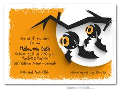 Big eyed bats wait for the guests to arrive, perfect for any Halloween party invitations for adults or kids Halloween birthday party invitations. See our entire collection at Announcingit.com
