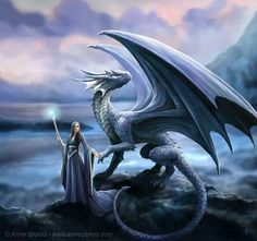 Anne stokes,  blue dragon