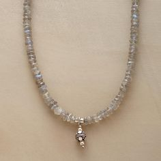 """POWERSTONE NECKLACE--Enjoy the subtle glimmer of iridescent labradorites, believed to strengthen intuition and imagination. Sterling silver temple bead pendant and S-hook extender clasp. Exclusive. 16""""L."""