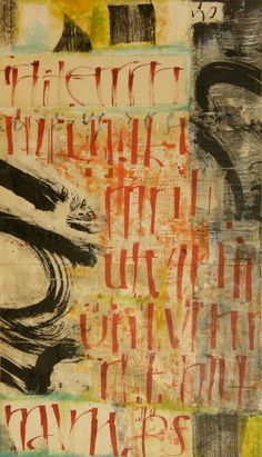 'Versal # 1' (2011) by artist Laura Wait. mixed media on panel, with encaustic, sumi ink and japanese papers, as well as oil stick, neocolor I, colored pencils and ink. 24 x 42 in. via the artist's site