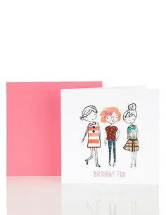 Fun 3 Girls Birthday Card Home