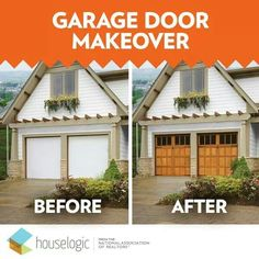 What a difference the right garage door design makes on a home's curb appeal! White flush panel doors replaced with Clopay Reserve Collection wood carriage style garage doors. www.garagedoor4less.com