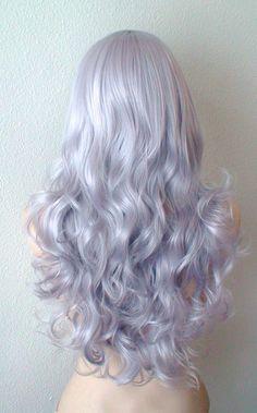 Silver wig. Lavender Silver color Long volume curly by kekeshop