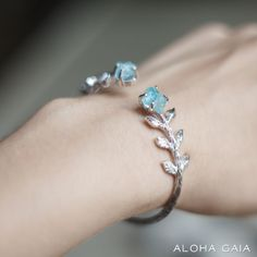 Leto Bracelet With Aquamarine | ALOHA GAIA | Jewelry with raw stones and crystals